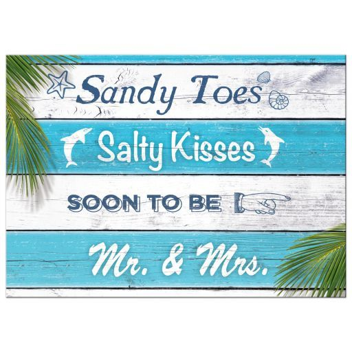 Beach Couple's Shower Invitation - Blue and white stripes and the cute saying, 'Sandy Toes Salty Kisses soon to be Mr. and Mrs.' accent this couple's shower invitation, making it perfect for the beach, Caribbean, luau, pool or destination themed couple's shower.