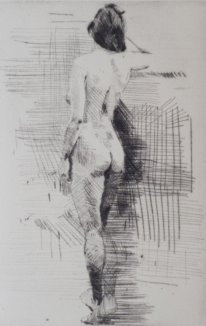 Nude, drypoint etching. Stephen Teeuw