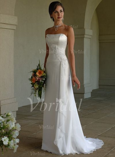 Wedding Dresses - $152.99 - A-Line/Princess Sweetheart Sweep Train Chiffon Charmeuse Wedding Dress With Beading Appliques Lace Sequins Cascading Ruffles (00205001164)
