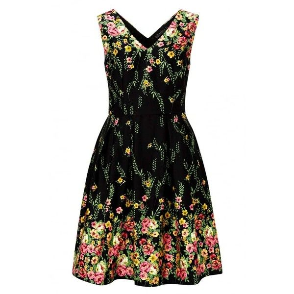 Sugarhill Boutique Breann Floral Border Print Prom Dress ($69) ❤ liked on Polyvore featuring dresses, patterned prom dresses, evening dresses, special occasion dresses, fit and flare cocktail dress and print cocktail dress