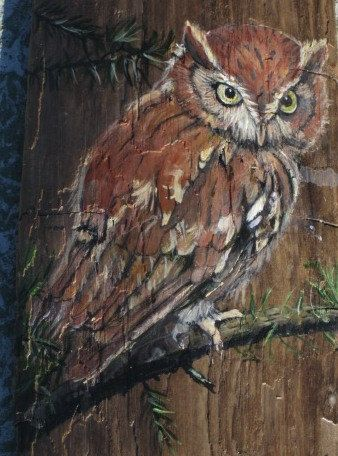 Owl Painted on Driftwood by MaryAnnBlosser on Etsy