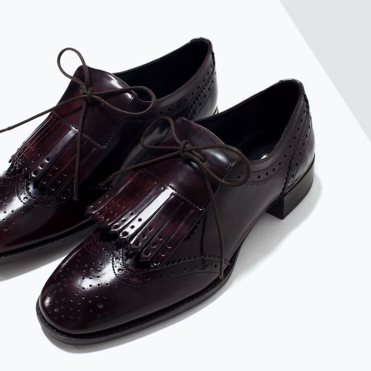 DERBIES CUIR FRANGES-Chaussures plates-Chaussures-FEMME   ZARA France