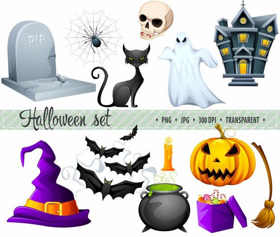 50% OFF SALE Halloween-illustraties pompoen Witch Hat kat Bat Ghost clipart Cute Halloween-illustraties Hand getrokken Cartoon clipart digitale illustraties