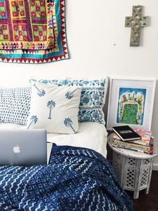 Blue Boho Palm trees Cushion Cover