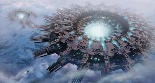 Космическая фантастика (Space Fantasy)   Trouble Between Clouds by Leon Tukker
