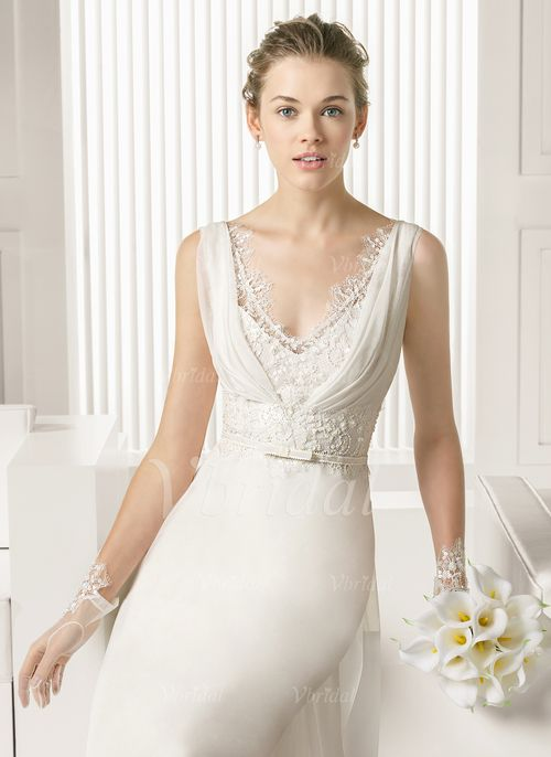 Robes de mariée - $139.99 - Forme Princesse Col V Traîne moyenne Mousseline Robe de mariée avec Dentelle Emperler (00205003349)