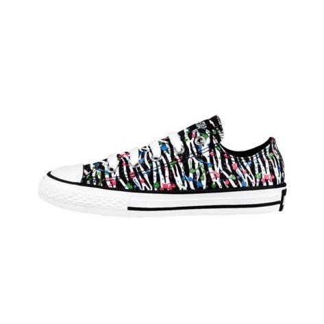 Youth Converse All Star Lo Zebra Splat Athletic Shoe - White/Black/Splat