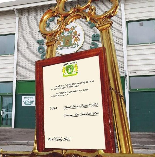 Cheeky Yeovil town gets in on the royal baby act and unveils their latest signing, via an easel