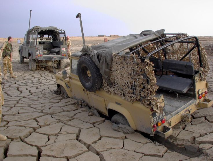 Land Rovers in Iraq. Stay strong you guys even if it hasn't rained in a couple of years!
