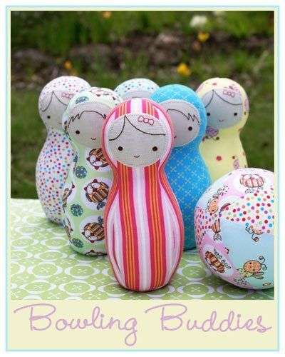 """""""Bowling Buddies"""" designed by Melanie Hurlston for Sew Little."""