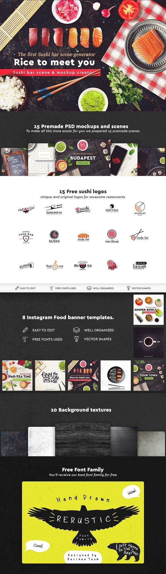 Sushi Bar Scene Generator   80% OFF by relineo.mock-ups on @creativemarket