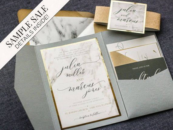 Wedding Invitation Marble And Gold Foil Invitations Calligraphy Script Pocketfold With Glitter Luxury Set Modern Elegance Pf 1l Sample In 2019 Wedding Invitations Invitations Create Invitations