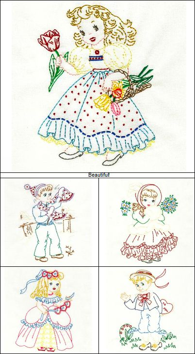 """""""Vintage Children of the Month Colorwork"""" this delightful set offers a vintage, hand embroidered look, using your embroidery machine. Purchase the set of 12 girls, 12 boys OR get both sets with all designs!"""
