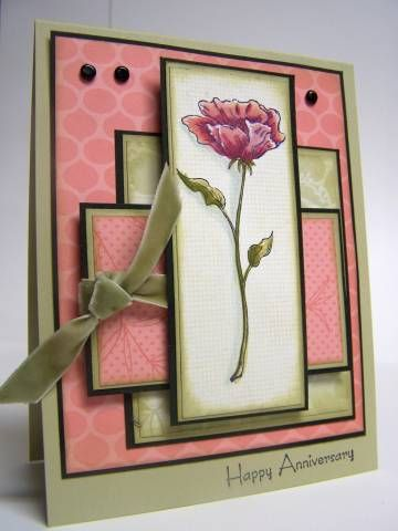 handmade anniversary card: Happy Anniversary by Kharmagirl ... olive, coral and cream ... lots of layers matted in black ... water colored rose with white gel highlights ... beautiful card ... Stampin' Up!