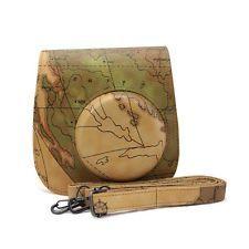 1 Pc Map Design Instax Mini 8 Camera Case Leather Bag For Fujifilm Fuji Polaroid