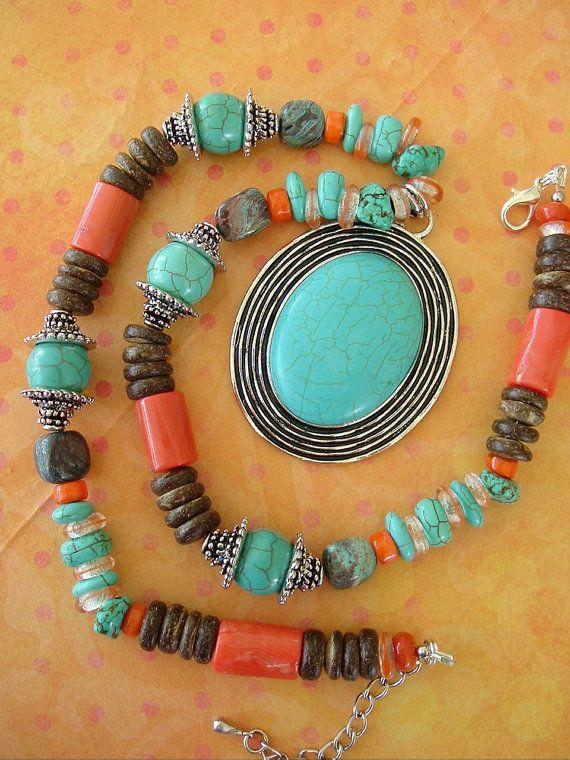 Boho Necklace, Southwest Jewelry, Bohemian, Turquoise Jewelry, Tribal, Cowgirl on Etsy, $108.00