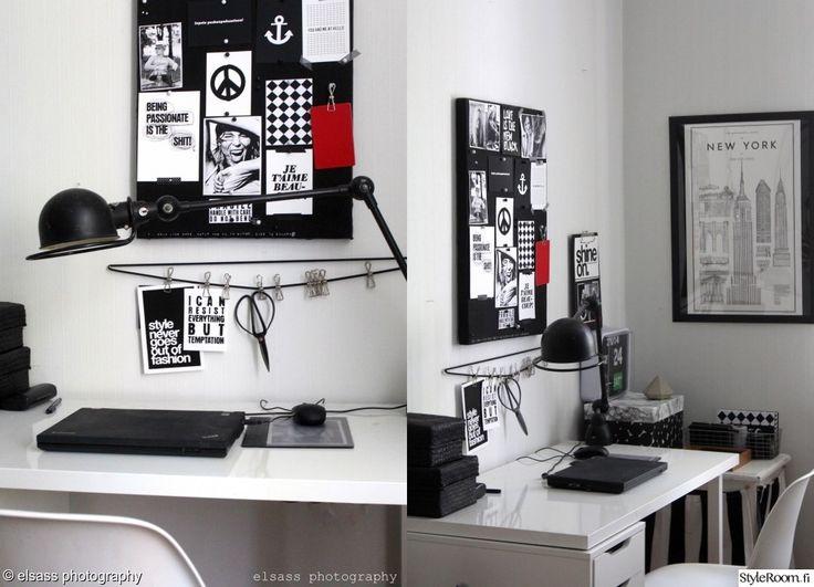 """Pidä oma tyylisi myös työpisteellä! Jäsen """"elsass"""" näyttää mallia mustavalkoiseen sisustukseen työpisteen yhteydessä. #styleroom #inspiroivakoti #tyohuone #mustavalkoinen"""