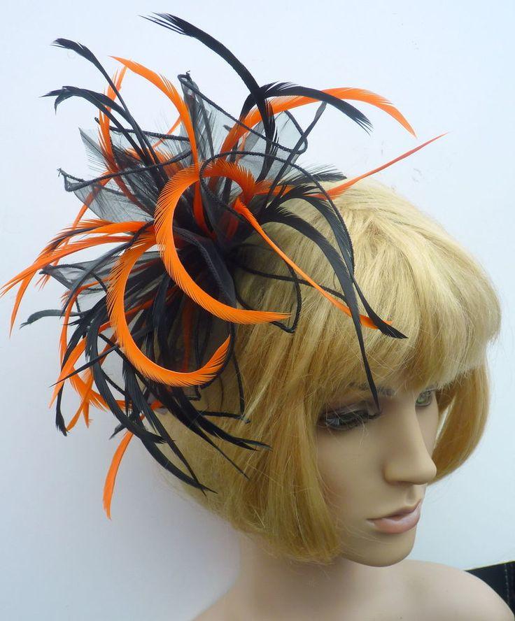 New Black & Deep Bright Orange Chiffon Feather Fascinator Hat Comb Wedding Races  EBFAS -004 £26.50 free pp