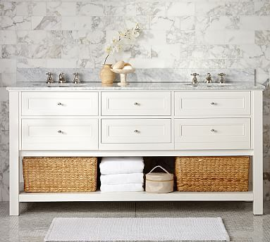 Classic Double Sink Console, White With Carrara Marble U0026 Chrome Finish Knobs