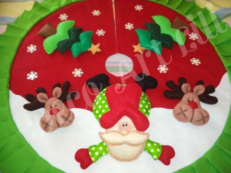 pie de arbol navideño en fieltro y tela polar