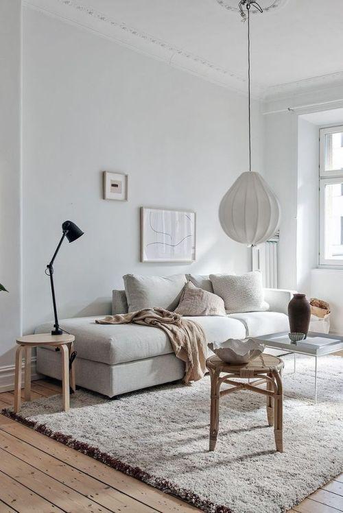 #homedecor White Scandinavian living room with bei…