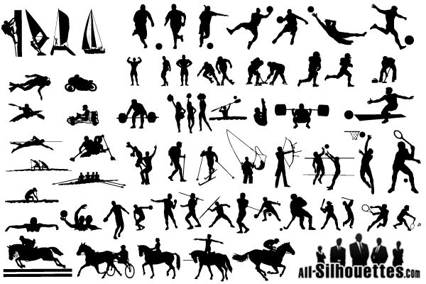 Sportsmen Silhouettes Free Vector