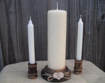 Shabby Chic Wood Wedding Monogram Unity Candle Holder Set