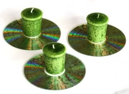 CD Candle Holder... take your old CDs, put them in microwave (no more than a few seconds), then add a votive candle and done...