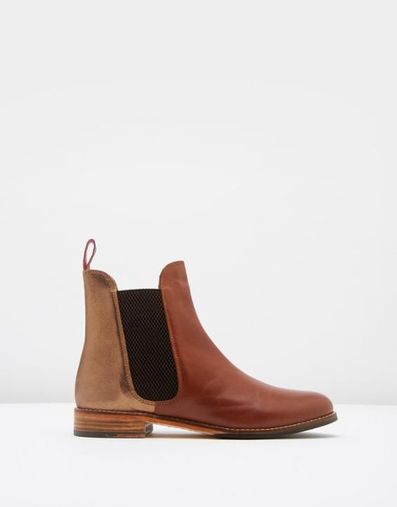 Westbourne Bronze Leather Chelsea Boots | Joules UK