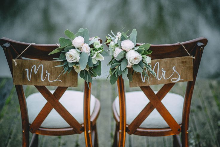 FESTIVAL BRIDES | Wedding Table Decor Inspiration For An Outdoor Bohemian Wedding in the British Countryside - Mr and Mrs calligraphy chair signs
