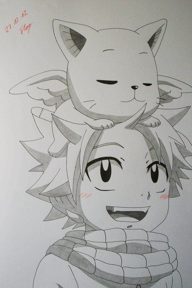 Natsu Dragneel and Happy from Fairy Tail After my colored ones now a pencil drawing. Btw, it's my first drawing in my new sketchbook. I hope, you like it.