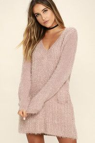 Cozy up in the irresistible Jack by BB Dakota Aristella Mauve Sweater Dress and watch as your admirers gather! Fuzzy, medium-weight eyelash knit is perfectly stretchy through a relaxed V-neck bodice, with ribbed accents, and long sleeves. Mini length hem is finished with two front patch pockets.