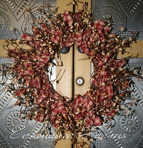 rag berry wreath tan red check primitive valentines country cottage decor ebay