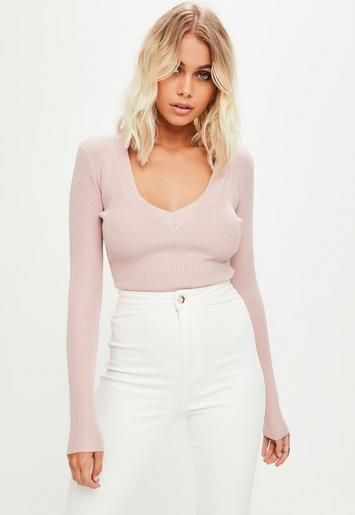 Pink Plunge Knitted Bodysuit   Missguided
