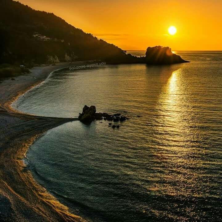 Sunset in Potami beach, Samos island, Greece
