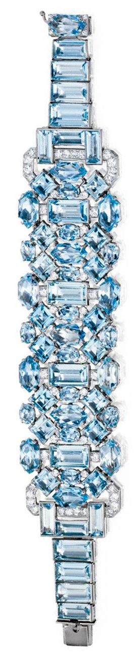 Art Deco aquamarine and diamond bracelet by Cartier, circa 1930. Via Diamonds in the Library.