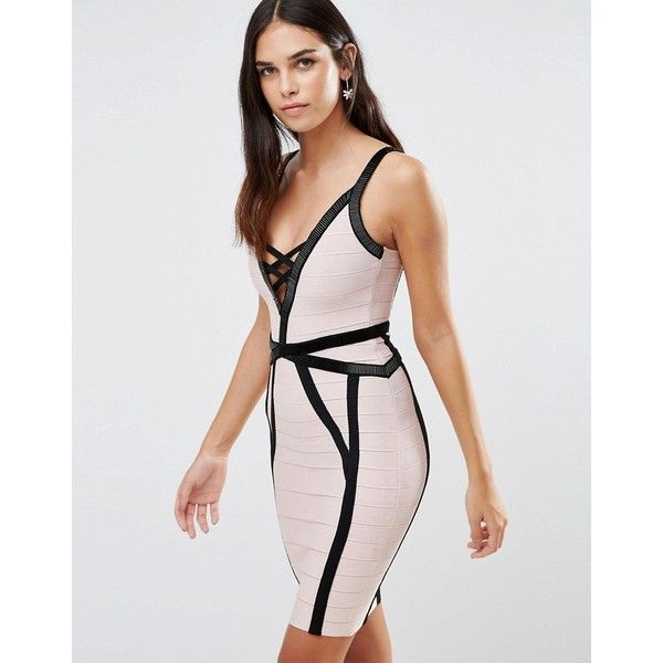 Forever Unique Muse Bandage Dress With Black Detailing ($180) ❤ liked on Polyvore featuring dresses, cream, beaded dress, beaded cocktail dress, cream cocktail dress, lace up dress and cream bodycon dress
