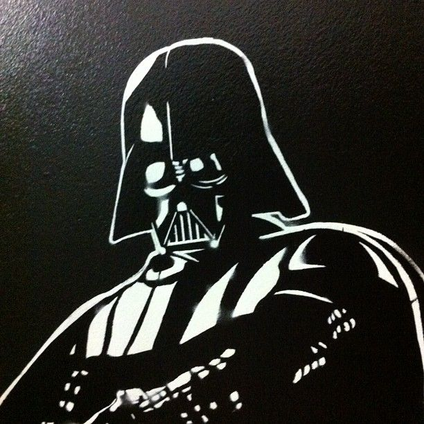 Darth Vader OFF by #ellastreetart stencil and spray on wood board