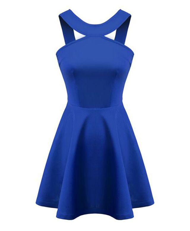 Solid Halter Neck Cutout Dress