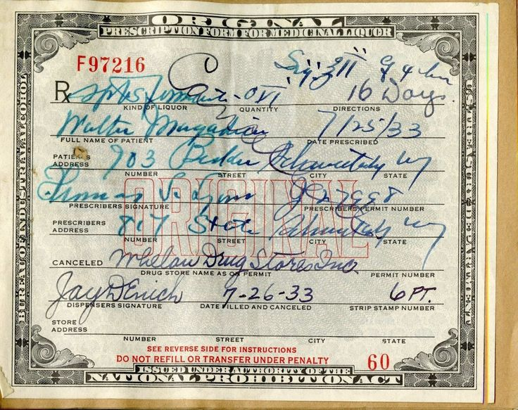 During prohibition - A prescription for medicinal alcohol from Whelan's Drug Store in Schenectady.