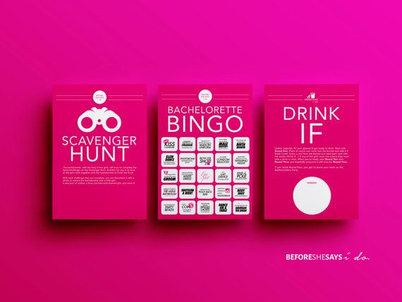 Bachelorette Party Games - 3 Games, Dare Cards, Drink If, and Scavenger Hunt, Hens night games, hens party games