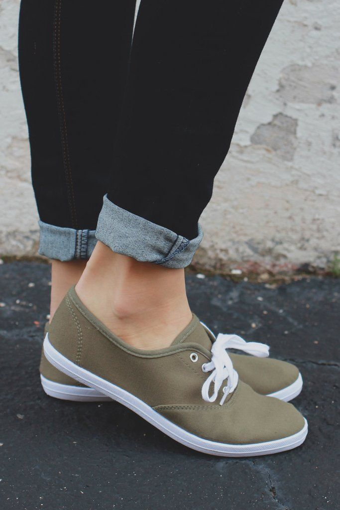 Olive Cushioned Insole Canvas Sneaker Marsden-01 ME – UOIOnline.com: Women's…