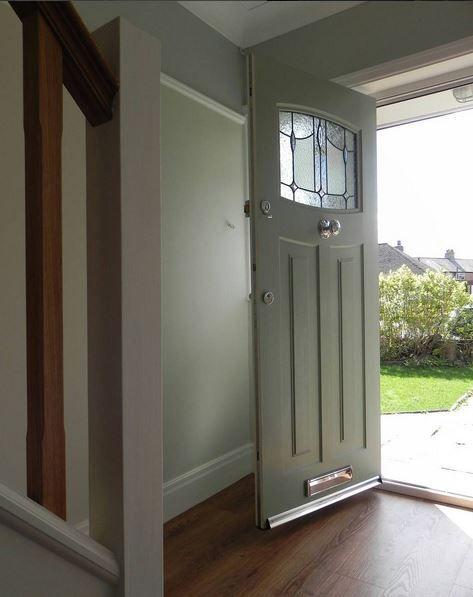 An inside shot of a Newark Rockdoor fitted with Lantern Glass #Rockdoor #Newark #ChartwellGreen #Mint