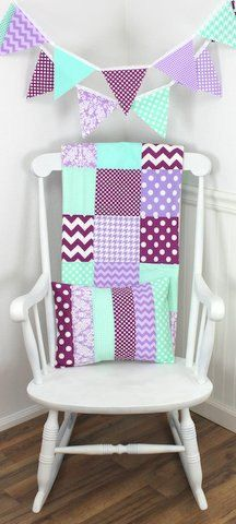 Lavender purple, mint green, and plum purple chevron, damask, dots and houndstooth make up this adorable Fabric Bunting! ~ 11 flag Bunting Banner