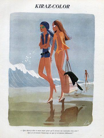 Edmond Kiraz 1970 Bathing Beauty, Swimmer, Kiraz-color illustrated by Edmond Kiraz | Hprints.com