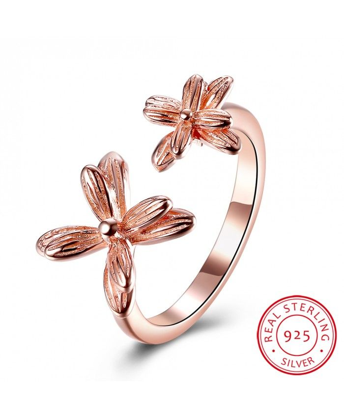 925 Sterling Silver Ring Rose Gold Plated Flower 2016