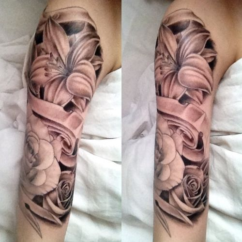 Rose Half Sleeve Tattoos for Girls | Half Sleeve Asian Flowers Tattoos For Girls