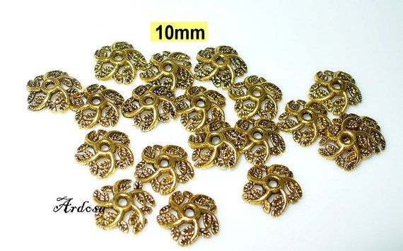 30 filigrane Perlkappen in antik Bronze