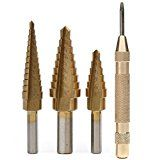 VIENNAGE- Titanium Step Drill Bit Set 3-Piece Set & Automatic Center Punch