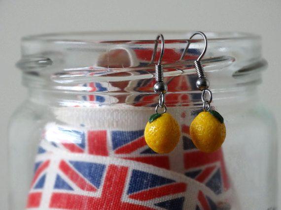 By the Shed Lemon DROP Earrings  Dangle Hanging Hook